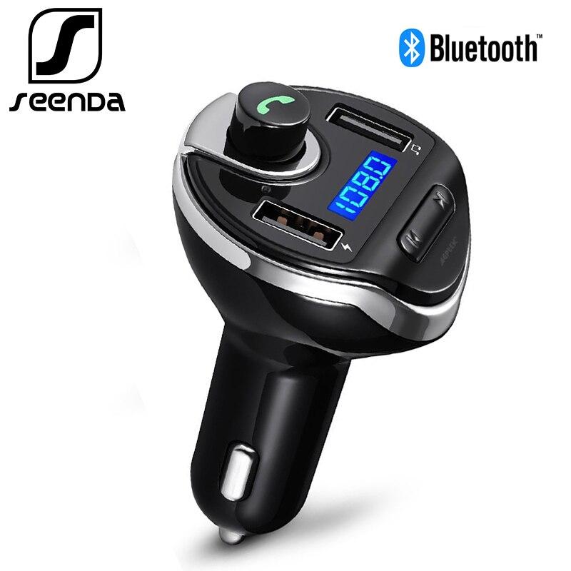 SeenDa 30 W cargador de coche USB Dual Bluetooth Car FM Transmisor Inalámbrico cargador de teléfono móvil para Samsung iPhone adaptador Xiaomi
