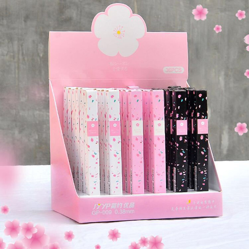 1 Pcs Kawaii Romantic Cherry Blossom Pen Japanese Gel Pens Neutral Pen 0.38mm For Girls Lovely Gift Office School Writing Supply