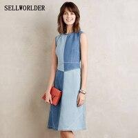 SELLWORLDER 2017 Women Vintage Denim Dress Comfortable Patchwork Style Clothing