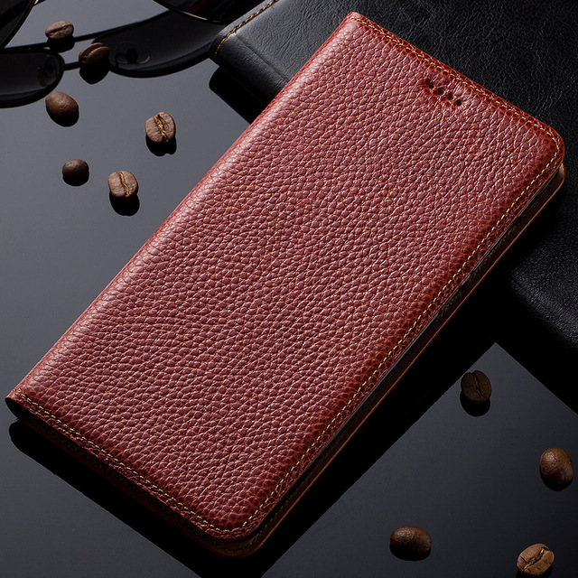 pretty nice 6b2a8 d4e04 US $18.12  Natural Genuine Leather Magnet Stand Flip Cover For Nokia Lumia  730 735 Luxury Mobile Phone Case + Free Gift-in Flip Cases from Cellphones  ...