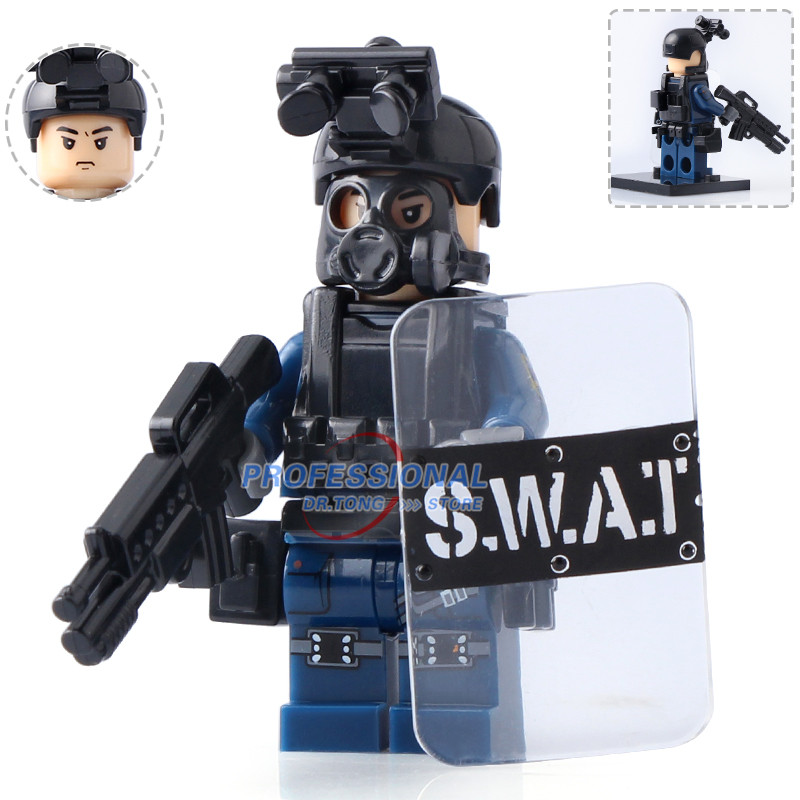 DR.TONG Single Sale Military Police Figure Police with Shield Weapon Bricks Building Blocks Mini Dolls Toys for Children Gifts hot sale 12cm foreign chavo genuine peluche plush toys character mini humanoid dolls