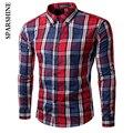 2017 plaid mens shirt Chemise Homme Camisa Masculina Dos Homens Da Marca Camisa de Manga Longa Escritório Coreano Formal Vestido Casual Masculino Camisa