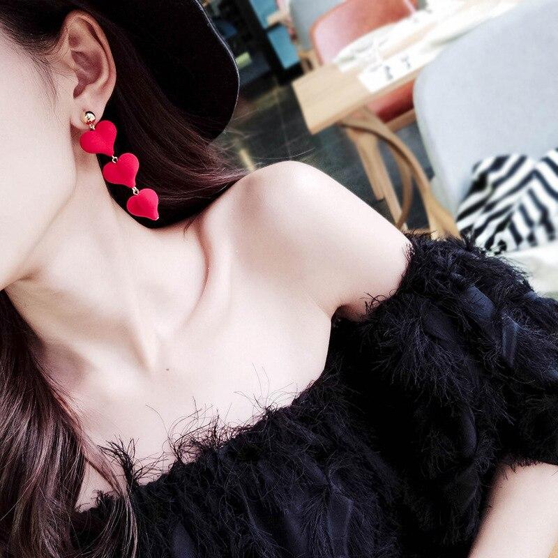 2018 Neue Korea Hot Fashion Diy Lange Erklärung Plüsch Stoffe Ohrringe Verkettet Plüsch Herz Tropfen Ohrringe Für Frauen Schmuck Modern Und Elegant In Mode