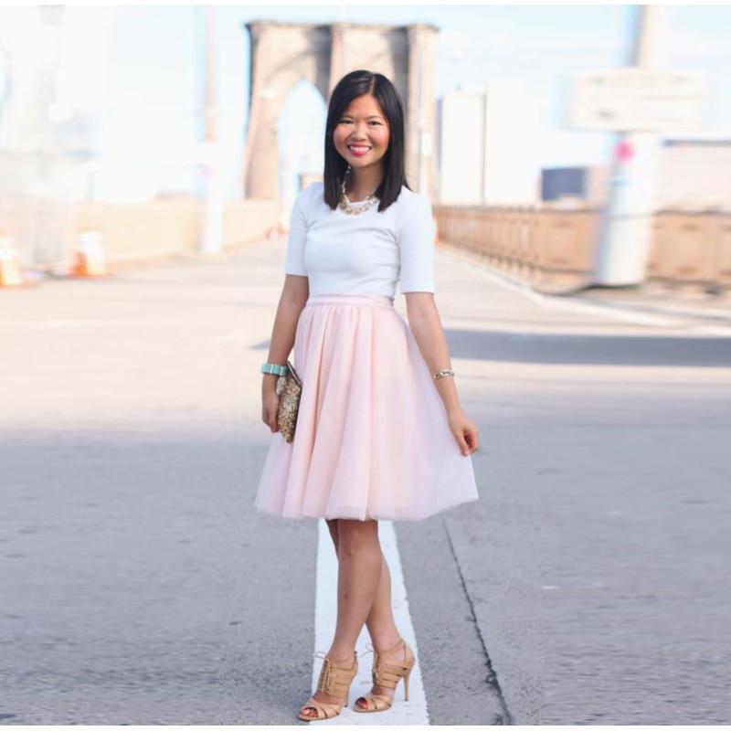 Hot Sale Pink Skirt A Line Knee Length Soft Tulle Skirt