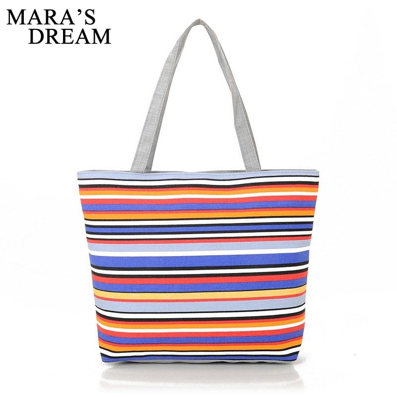 Mara's Dream Canvas Shopper Bag Striped Rainbow Prints Beach Bags Tote Women Ladies Girls Shoulder Bag Casual Shopping Handbag