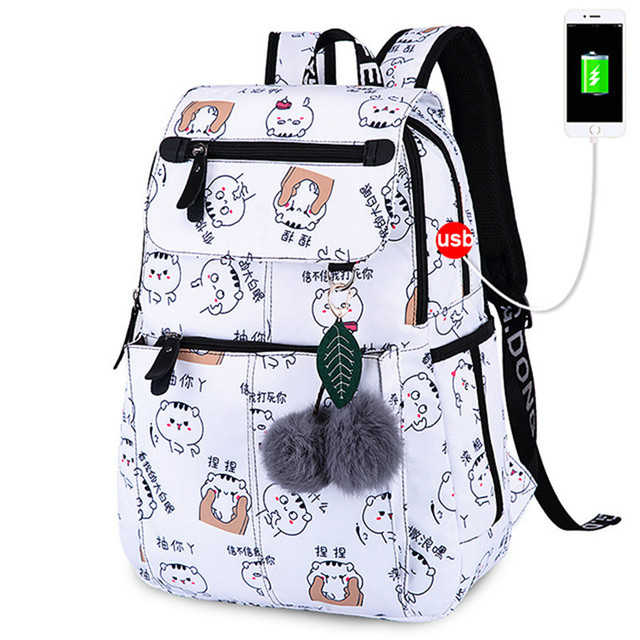 Women Backpack Fashion USB School Bags Girls Female School Backpacks Big Capacity Backpack Child Schoolbag Waterproof School Bag