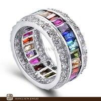 New Fashion Jewelry Blue, Purple Quartz , Garnet, Morganite, Pink Kunzite 925 Sterling Silver Rings for women evening party Gift