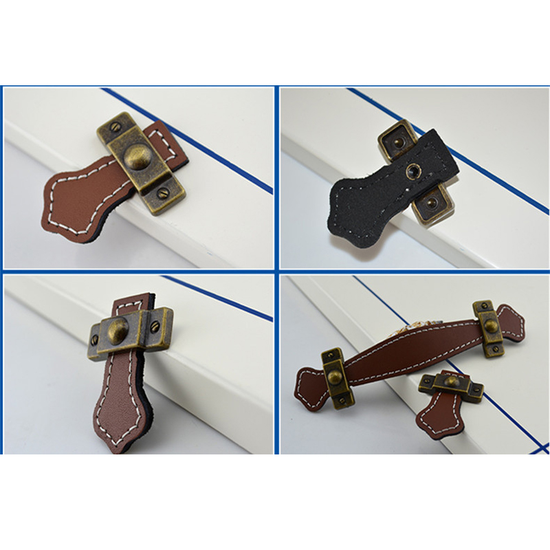 European antique leather handle Drawers closet door pulls shoe bag ...