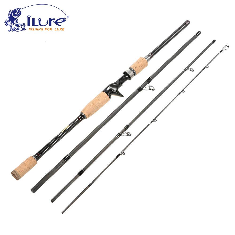 iLure 2.1m/2.4m/2.7/3m Carbon Fiber Fishing Rod 4 Section Spinning Rod Baitcasting Rod Light Weight Casting Fishing Tackle Pesca