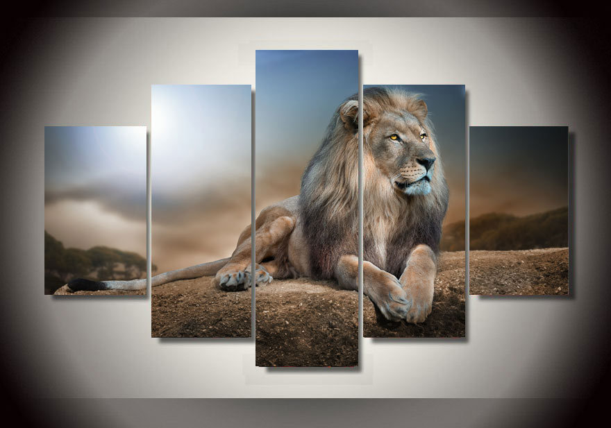 Canvas Painting Abstract Lion Sunset Landscape Wall Art Decoration Home Decor Pictures For Living Room