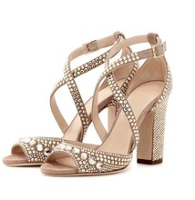 Hot Selling Beige Women Square Heel Sandals Cut-out Cross Strap Crystal Embellished 2019 Summer Shoes Chunky