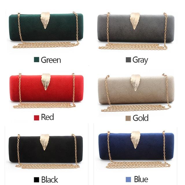 Faux Suede Evening Clutch Bag For Women Long Design Clutch Bag Gold Color Metal Leaf Lock Wedding Purse Female Handbag Bolsa 4