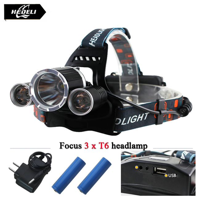 USB 10000 lumens 3T6 led headlights LED headlamp CREE XML T6 waterproof head light 18650 Rechargeable battery Front Flashlight