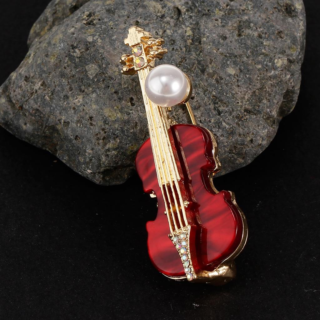 Crystal Rhinestone Musical Instrument Guitar Brooch Pin Women Breastpin Fashion Crystal Guitar Shape Brooch Pin for men women