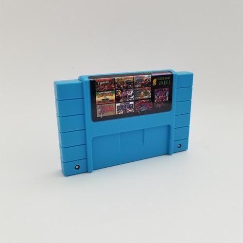 Obraz przedstawiający Super 49 in 1 Game Cartridge Donkey Country Kong 1 2 3 Super Bomberman Super Metroided Super Marioed World All Stars Series game