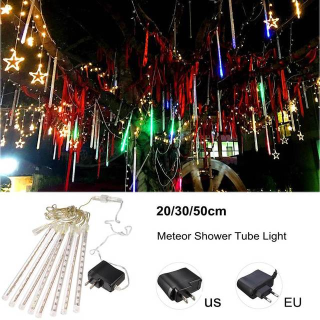 20/30/50cm Waterproof Meteor Shower Tube LED String Light Colorful Outdoor Garden Tree Christmas Decor AC100V-240V