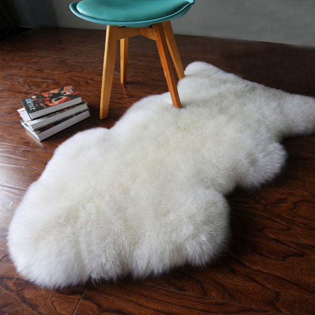 White Fur Artificial Sheepskin Hairy Carpets for Living Room Bedroom ...