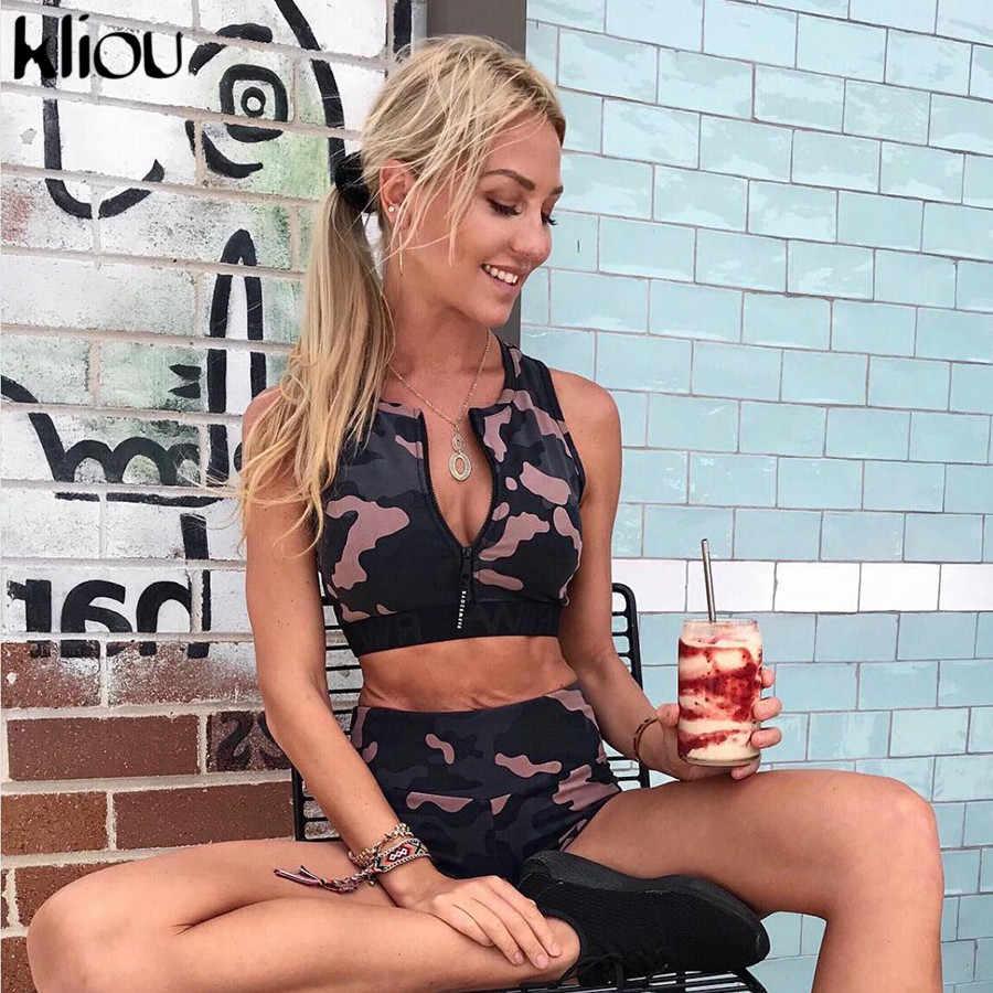 Kliou 2019 kobiety sexy kamuflaż fitness dwa kawałki zestaw bez rękawów zipper fly crop top dobra elastyczna wysokiej talii szorty dresy