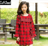 Girls Autumn Cotton Plaid Ruffles Dresses Clothing Children's Vintage Knee Length Loose Casual Long Dress Kids Baby Dress
