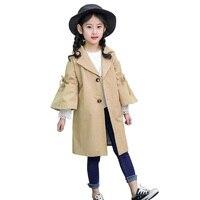 2018 Spring Autumn Girls Trench Coat Children Clothing Girls Long Outerwear Coat Kids Windbreaker Jacket 4 13Y BC274