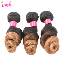 Vanlov 2 Tone Ombre Human Hair Weave Brazilian Loose Wave Bundles Blonde Non Remy Hair Extension T1B/27 1PC Free Shipping