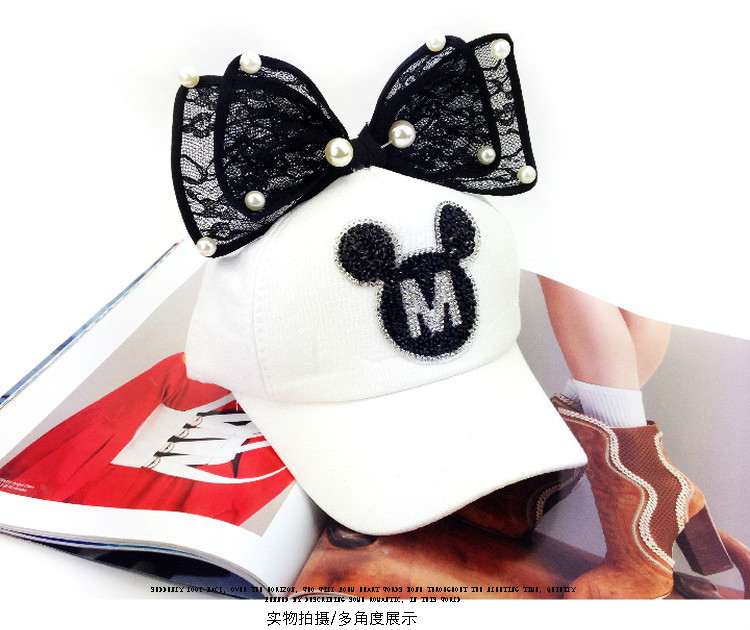 Summer children bow and Pearl Black Diamond cute Mickey peaked cap female  baseball cap curved eaves hip-hop cap - us826 39a2ee818f165