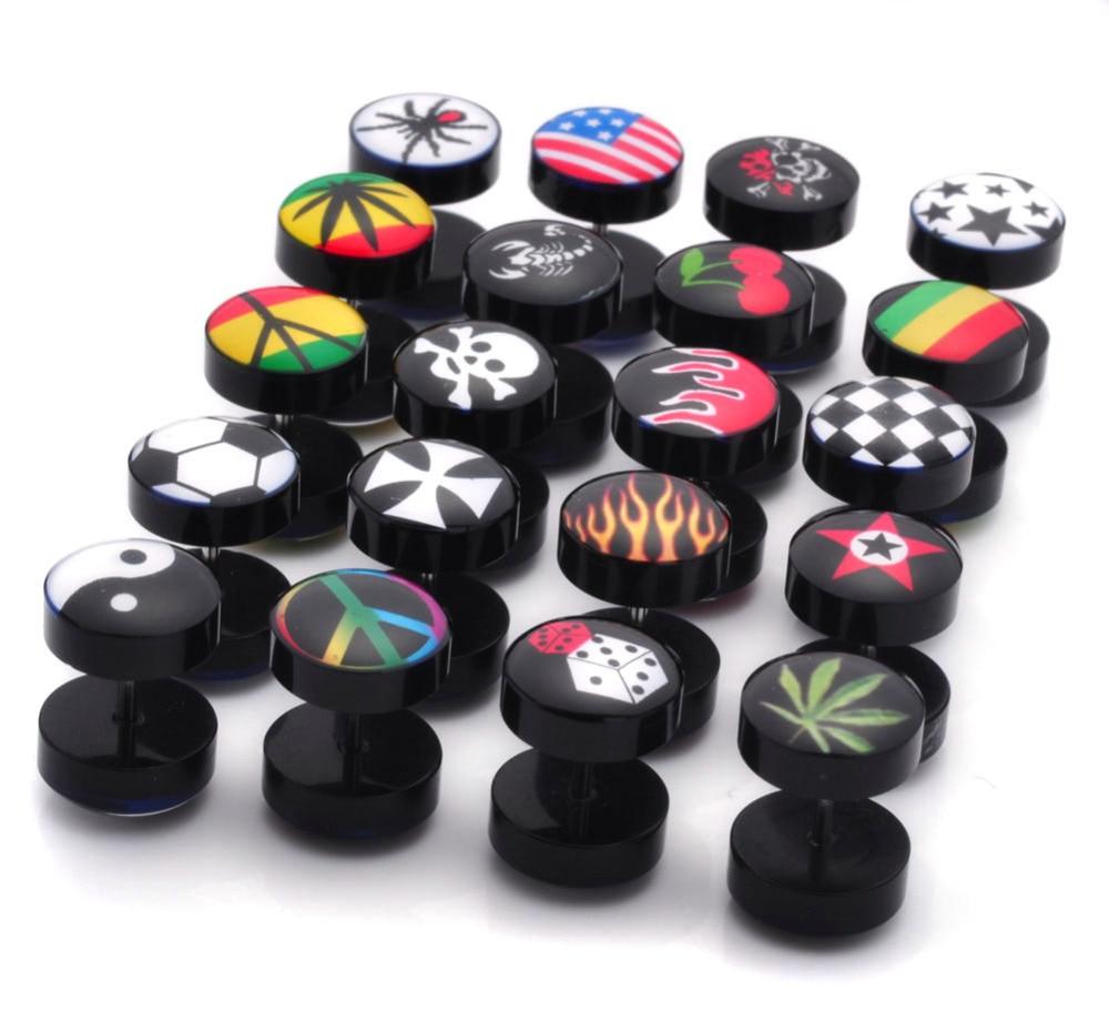 10 piezas de enchufe redondo plano oído Stud falso tramposa Barbell Punk Rock hombres mujeres oreja Piercing joyería venta al por mayor Multicolor