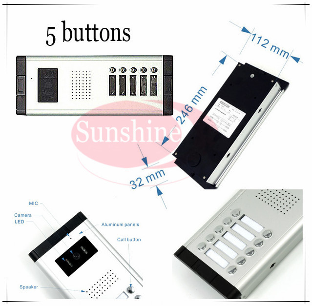 Outdoor camera CCD lens outdoor unit Video door phones intercom systems with 5 buttons for 5 office/villas/apartments/Hotles cd led zeppelin i deluxe cd edition