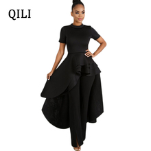 QILI White Black Blue Red Dress O Neck Short Sleeve Cascading Ruffles Asymmetrical Dresses Womens Party Casual Plus Size