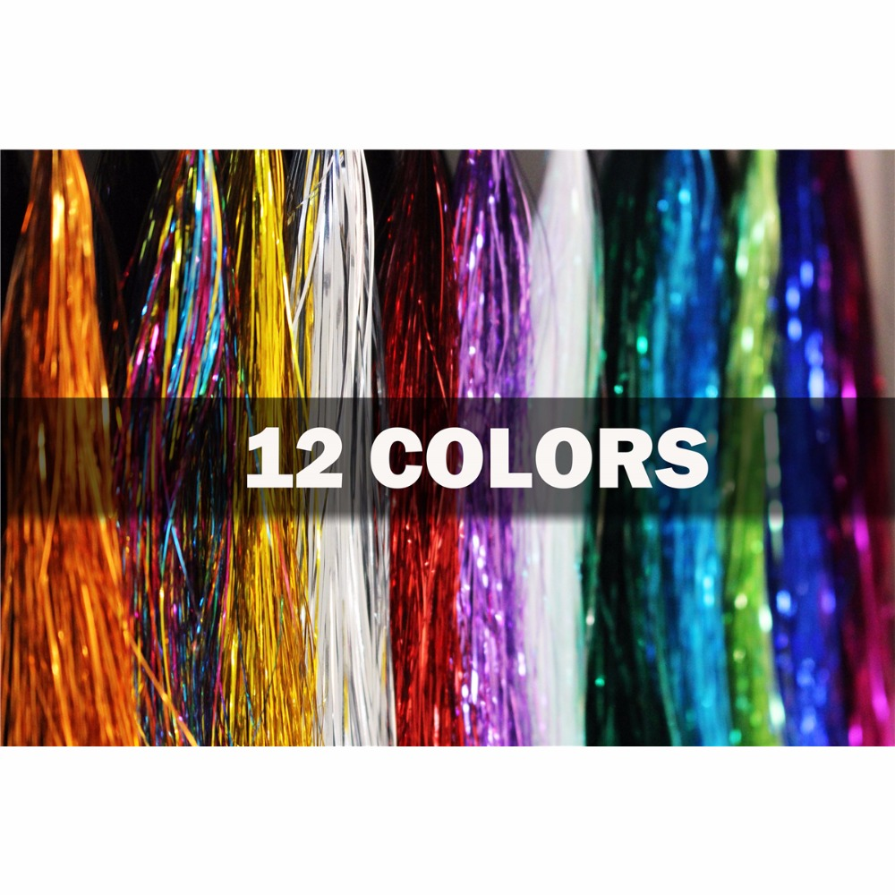 Tigofly 12 Colores 0.3mm Flashabou Tinsel Flat Mylar Crystal Flash Trucha Tubo Pesca con mosca Materiales para atar