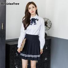2017 summer Japanese School Uniforms JK Sailor Mavy Short-sleeved T Shirt College Suit Skirt Female