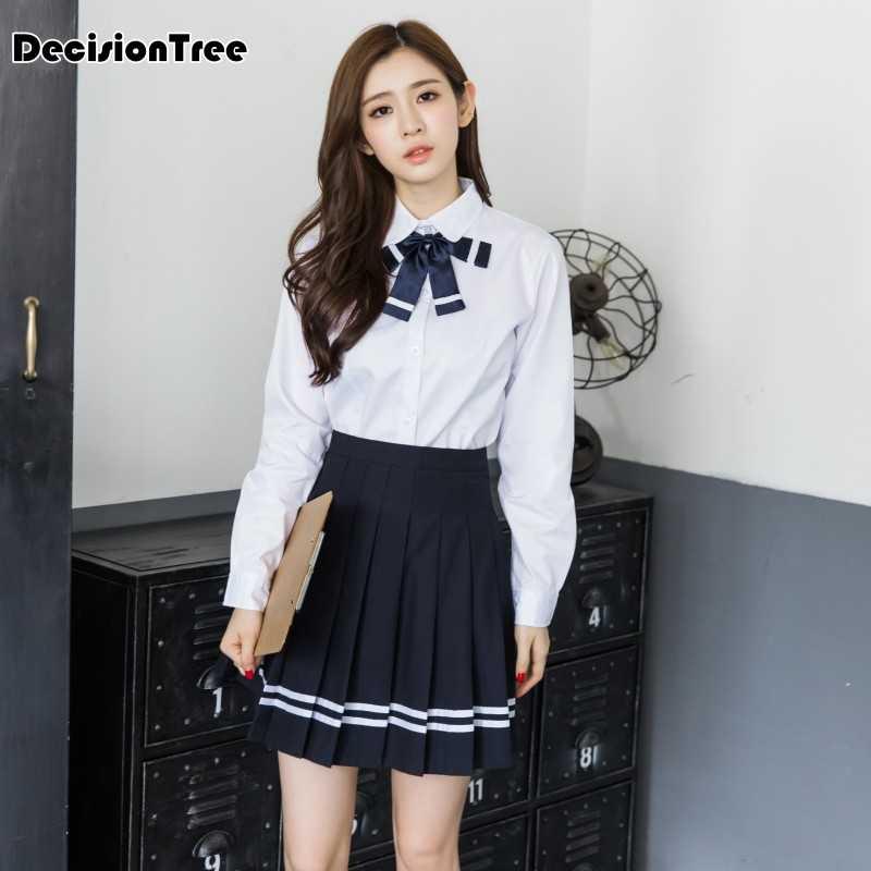 2019 летний японский/Корейский студенческий костюм милые девушки/женщины косплей матросский костюм Школьная Униформа темно-синий топ + юбки