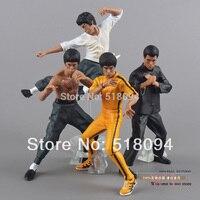 Frete Grátis Fresco Bruce Lee Kung Fu Ação PVC Figuras Colecção Brinquedos 4 pçs/set New in Box OTFG070