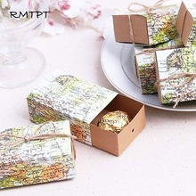RMTPT 50pcs/Lot World Map Drawers Design Candy Gift Boxes Baby shower Birthday party Craft Paper Case for Wedding Favors