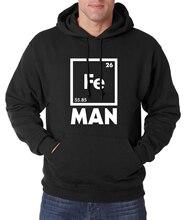 for adult chemistry science Fe hoodie Iron Periodic Table Men Hoodies Funny Sweatshirt 2017 spring winter warm fleece hoody