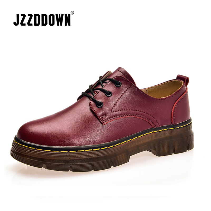 Image 2 - JZZDDOWN Large Size womens leather shoes round toe Genuine Leather Shoes Woman Loafers Ladies shoes oxford zapatos para mujerWomens Flats   -