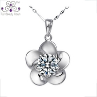 925 Pure Sterling Silver Cubic Zirconia Necklaces Pendants Astrian Crystal Flower Design Micro Inlays Fine Jewelry