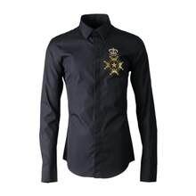 2018 otoño nuevo estilo corona bordado perlas hombres de manga larga  Camisas casual algodón estilo chino 55777d601f41