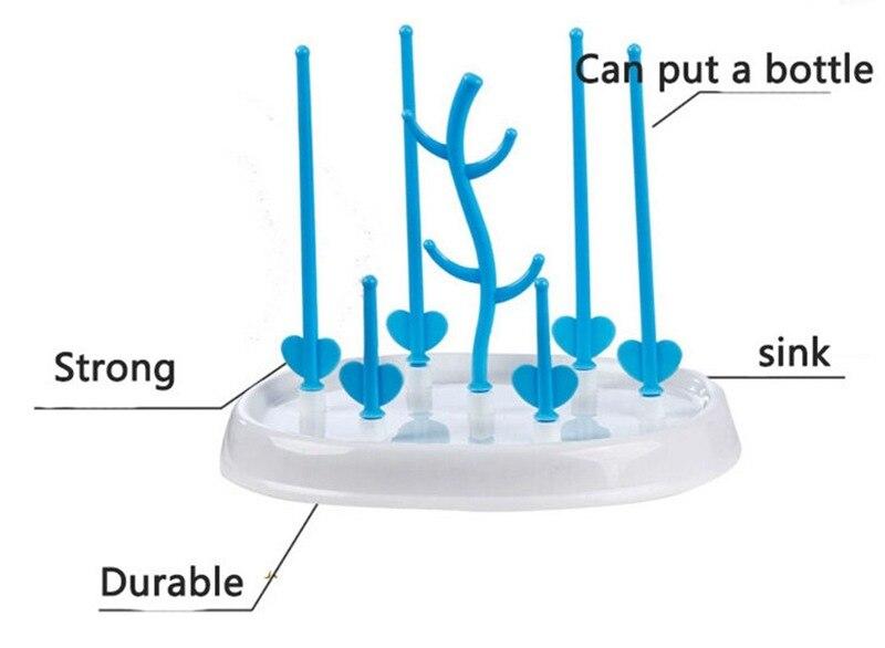 Antibacterial Baby Bottle Drying Rack Antibiotic Drainer Dryer Rack Shelf Feeding Holder Stand Health Safe Drain Bottles Rack