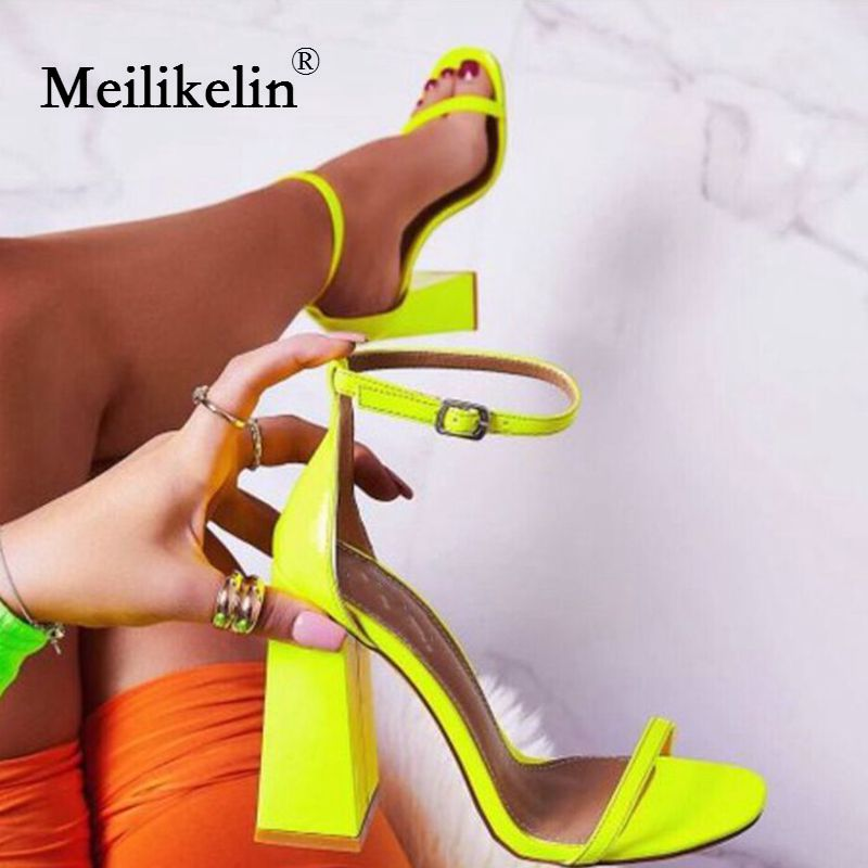 2019 new summer women's shoes sandals block high heeled open toe woman sandal Shallow mouth Green Orange Yellow pumps shoes 8.5