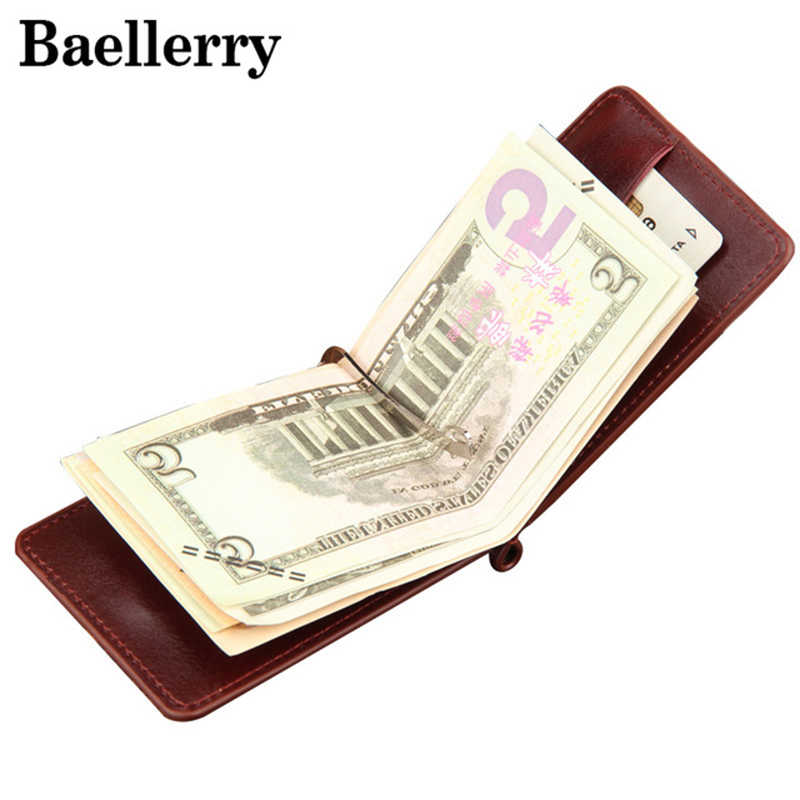 Leather Money Clips Men Wallets Coin Zipper Pocket Purse Money Bag Clamp For Money Card Slots Magnet Hasp Clips MWS029