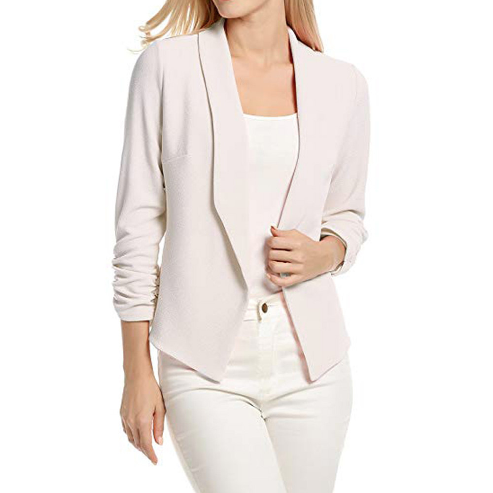 Work Office Coat Women 3/4 Sleeve Blazer Open Front Short Cardigan Suit Jacket ladies suits conbinaison femme garnitur damski