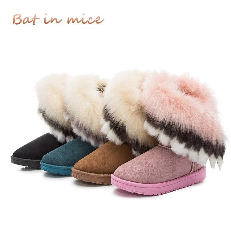 цена на 2018 winter new women boots casual rabbit fur warm flats boots women fashion lady snow boots shoes women Mujer 4 colors A100