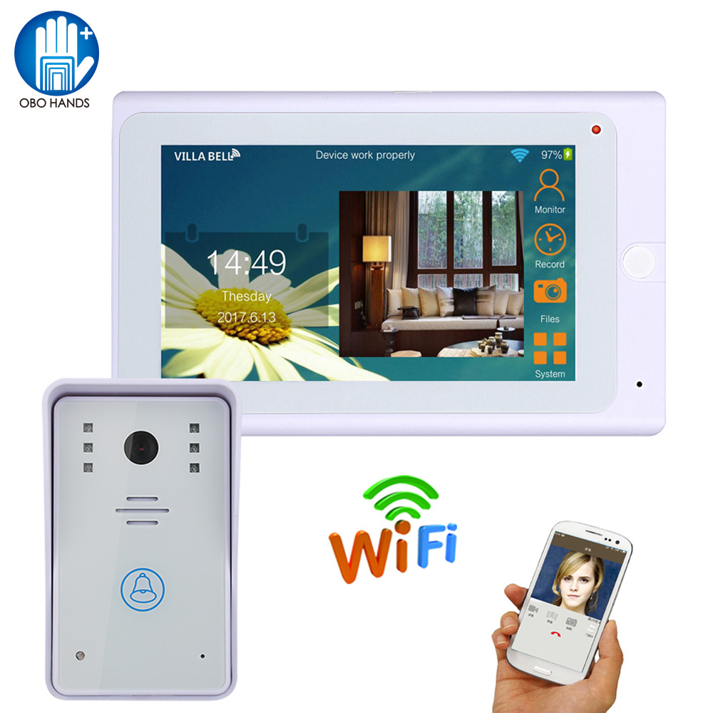 Wifi Video Doorbell Intercom IP Camera 7 Monitor Touch LCD Screen IR Outdoor Camera Waterproof Support IOS/Android Smart Phone original 7 inch touch screen dahua dh vth1550ch color monitor with to2000a outdoor ip metal villa outdoor video intercom system