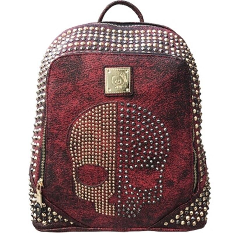 Unisexe crâne sac à dos femmes hommes Rivets en cuir sac à dos pour adolescente sacs à bandoulière décontracté voyage Punk sac à dos Couple sacs - 6