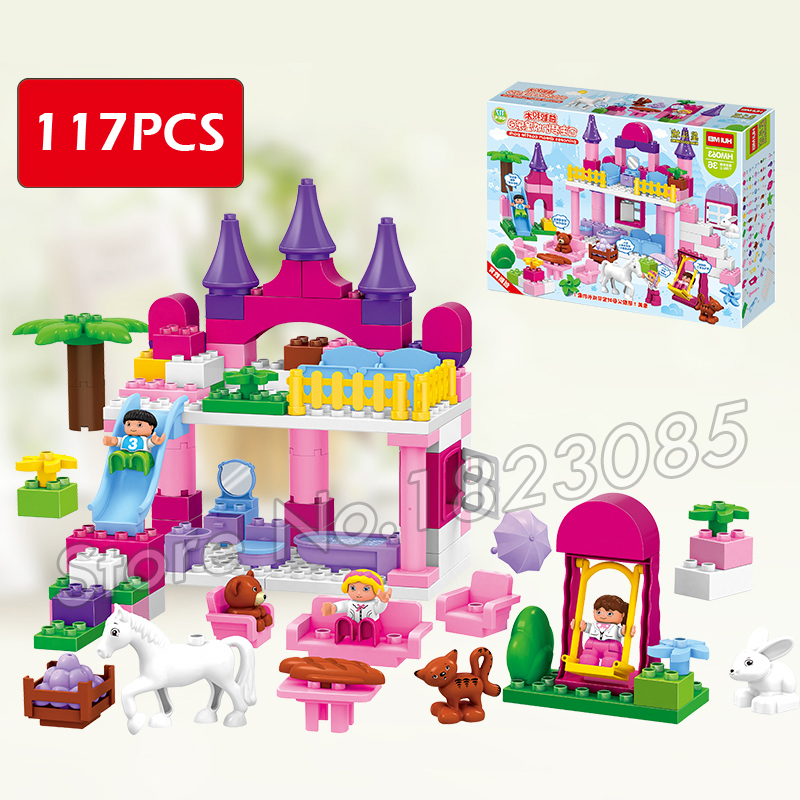 117pcs Princess The First Royal Cinderella's Castle Dream Park Model Big Size Building Blocks Bricks Compatible With Lego Duplo diy 117pcs princess dream castle park larger particles building blocks toy kids girl best gift compatible with legoed duploe