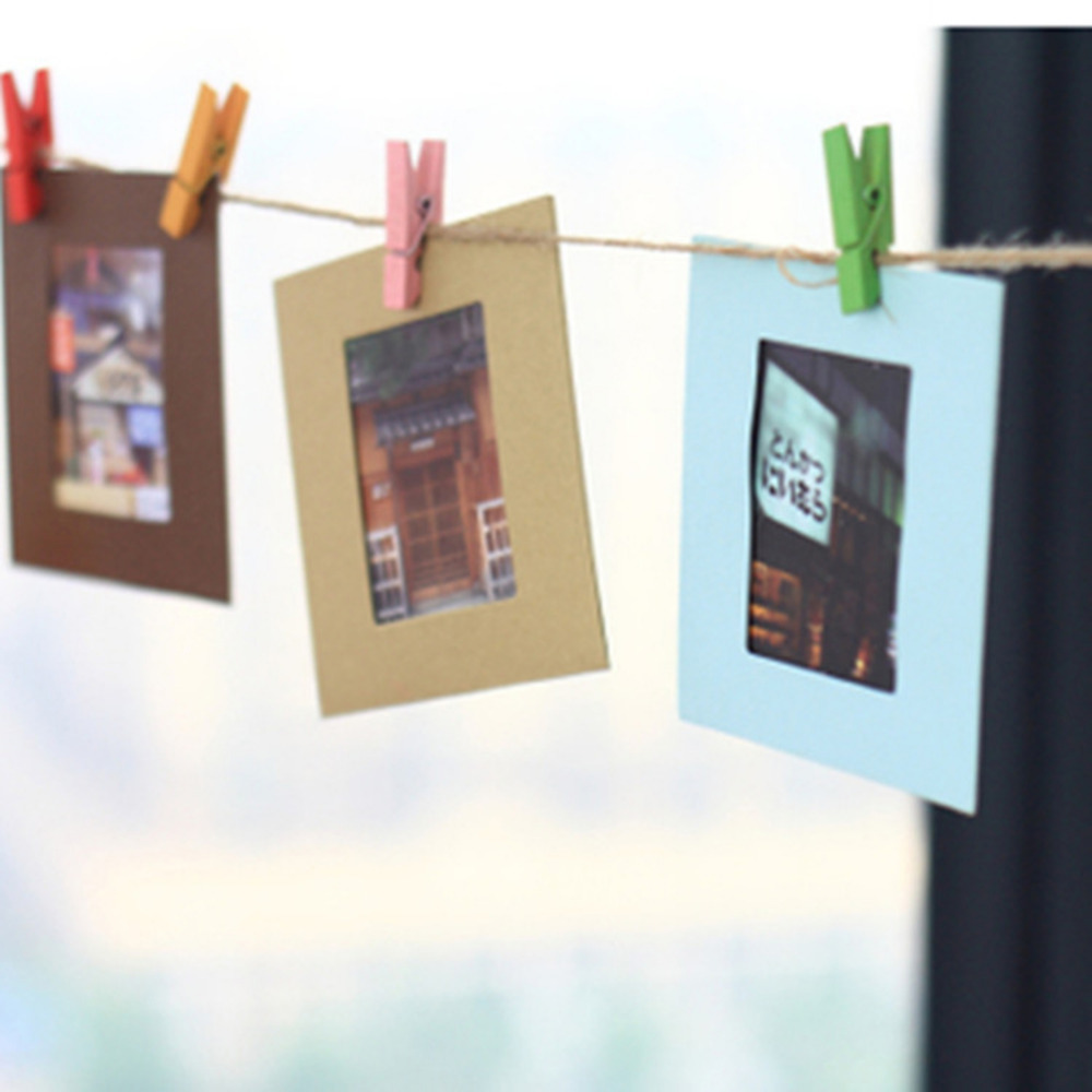 Lot Diy  Wall Hanging Paper Photo Frame Wall Picture Album + Rope +wooden Clip From