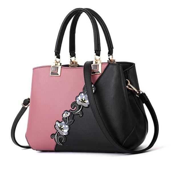 Модные женские Сумки из искусственной кожи, сумки с вышивкой, брендовая роскошная сумка на плечо, хит цвета, ручная сумка с верхней ручкой, сумка-почтальон с цветами - Цвет: Pink
