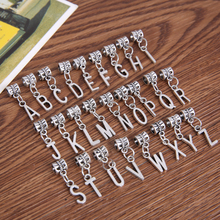 26pcs/set 2 Style A -Z big hole bead fit Pandora metal charm Alphabet pendants for European bracelet jewelry making 28192