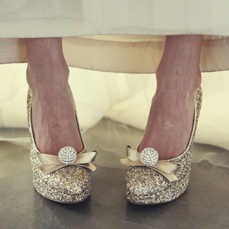 Evening and wedding shoes for women luxury gold rhinestone for Gold dress shoes for wedding